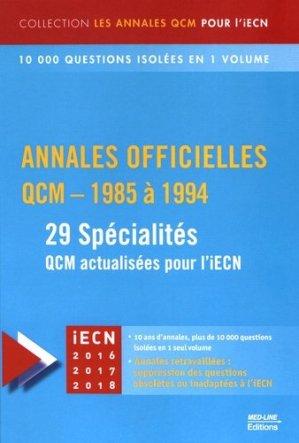 Annales officielles QCM - 1985 à 1994-med-line-9782846781855