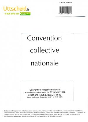 Convention collective nationale Cabinet dentaire 2016 + Grille de Salaire-uttscheid-9782371554047