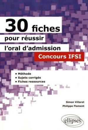 30 fiches pour reussir l'oral d'admission concours ifsi methode sujets corriges fiches ressources-ellipses-9782340015609