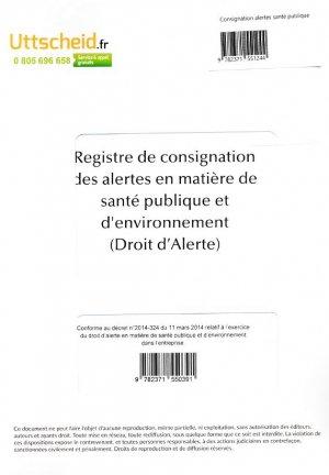 Registre de consignation des alertes en matière de santé publique et d'environnement (Droit d'alerte)-uttscheid-9782371551244