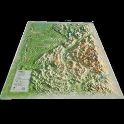 Carte en relief de l'Isère