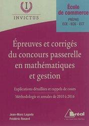 Epreuves et corrigés du concours Passerelle en mathématiques et gestion