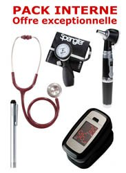 PACK INTERNE - Tensiomètre manopoire SPENGLER Lian Nano - Stéthoscope Magister - Otoscope Spengler SMARTLED à LED et fibre optique - OXYSTART Oxymètre de pouls - Lampe stylo à LED Litestick Spengler  - ROUGE
