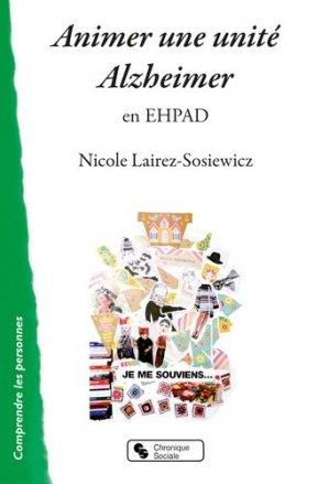 Animer une unité Alzheimer en EHPAD - chronique sociale - 9782367175751
