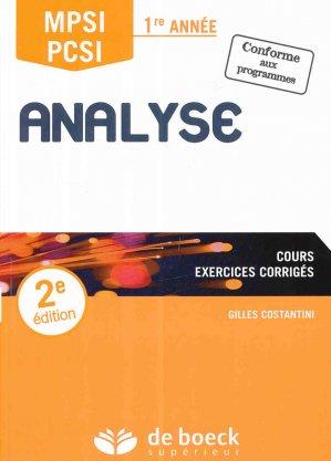 Analyse MPSI / PCSI 1re année-de boeck superieur-9782807306394