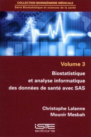Biostatistique et analyse informatique des données de santé avec SAS-iste-9781784053185