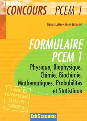 Formulaire PCEM 1-ediscience-9782100507788