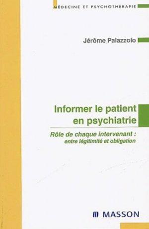 Informer le patient en psychiatrie-elsevier / masson-9782294008504
