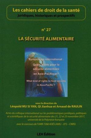 La sécurité alimentaire (n° 27)-les etudes hospitalieres-9782848748047