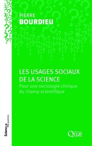Les usages sociaux de la science - quae - 9782759229260