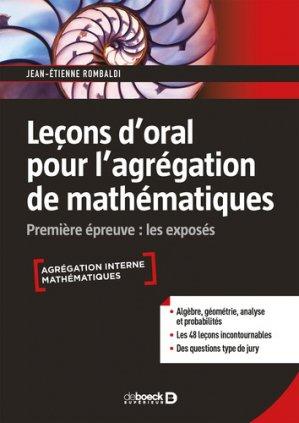 Leçon d'oral pour l'agrégation de mathématiques-De Boeck-9782807321533