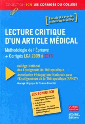 Lecture critique d'un article médical (LCA) - med-line - 9782818311882