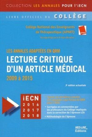 Lecture critique d'un article médical (LCA)-med-line-9782846781589