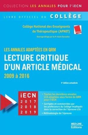 Lecture critique d'un article médical (LCA)-med-line-9782846782012