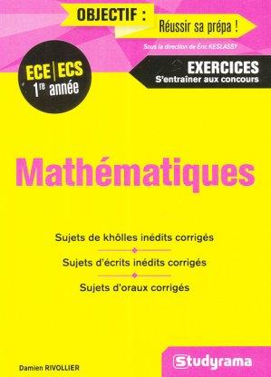 Mathématiques - ECE/ECS 1re année-studyrama-9782759036462