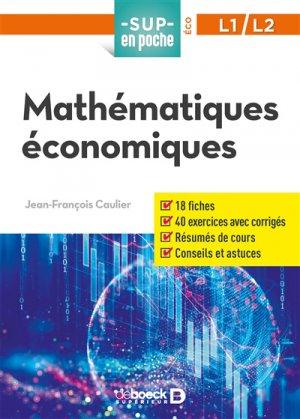 Mathématiques économiques - De Boeck - 9782807315518