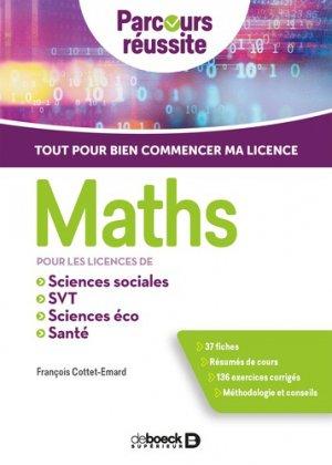 Maths pour les licences de sciences éco, sciences sociales, SVT, santé-de boeck-9782807327153