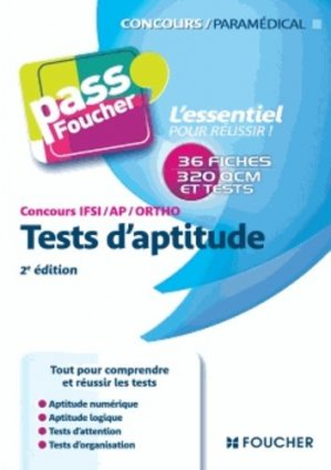 Tests d'aptitude  Concours IFSI / AP / Ortho - foucher - 9782216122554