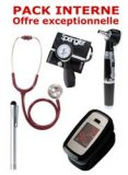 PACK INTERNE - Tensiomètre manopoire SPENGLER Lian Nano - Stéthoscope Magister - Otoscope Spengler SMARTLED à LED et fibre optique - OXYSTART Oxymètre de pouls - Lampe stylo à LED Litestick Spengler - BORDEAUX